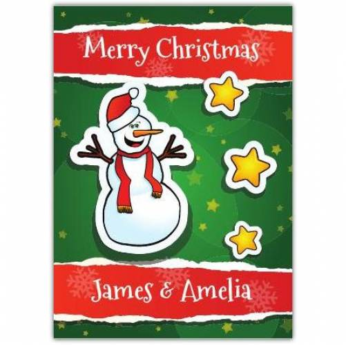 Snowman And Stars Merry Christmas Card