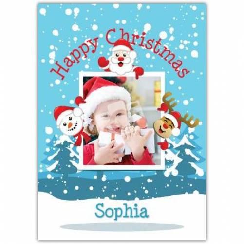 Snowman Santa Rudolph Happy Christmas Card