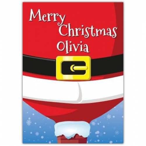 Santa In A Chimney Merry Christmas Card Card