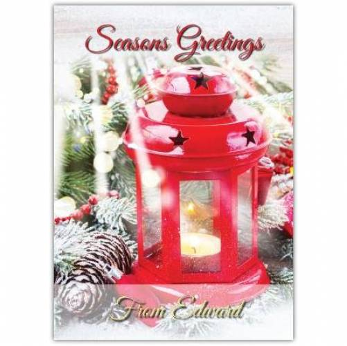 Red Lantern Seasons Greeting Christmas Card
