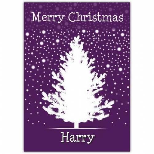 Purple Tree Merry Christmas Card