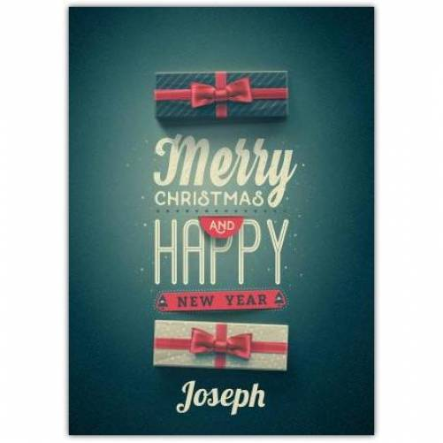 Green Presents Merry Christmas And Happy New Year Card