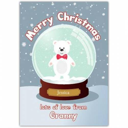 Teddy Bear Snow Globe Lots Of Love From Merry Christmas Card