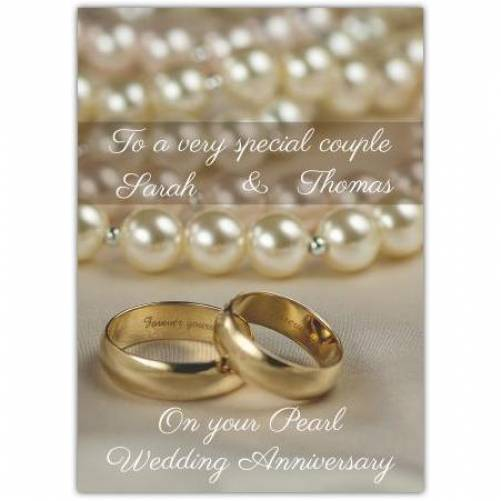 To A Very Special Coupe On Your Pearl 30th Wedding Anniversary Card