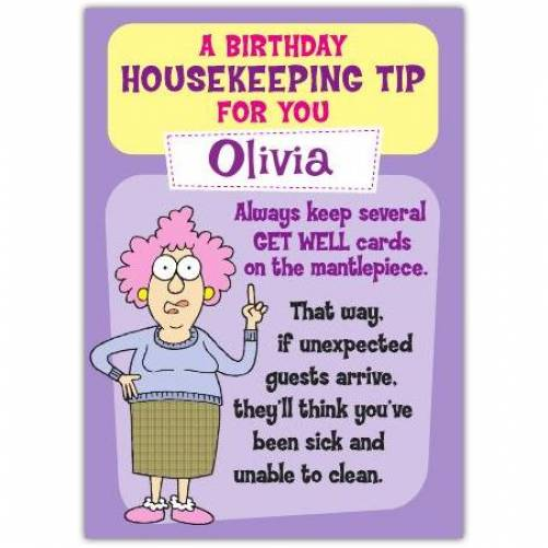 Aunty Acid Housekeeping Tip Birthday Card