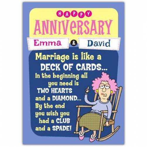 Aunty Acid Deck Of Cards Anniversary Card