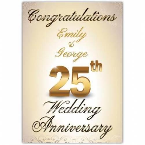 Congratulations -25th Wedding Anniversary Card