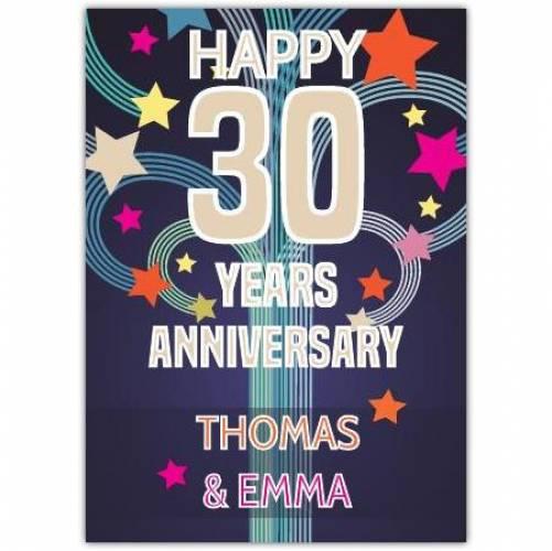 30th Wedding Anniversary Card
