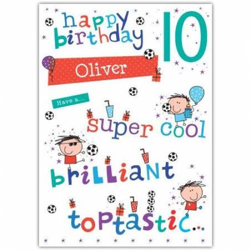 Toptastic Happy 10th Birthday Card