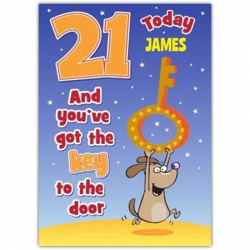 Key Of The Door Male Happy 21st Birthday Card