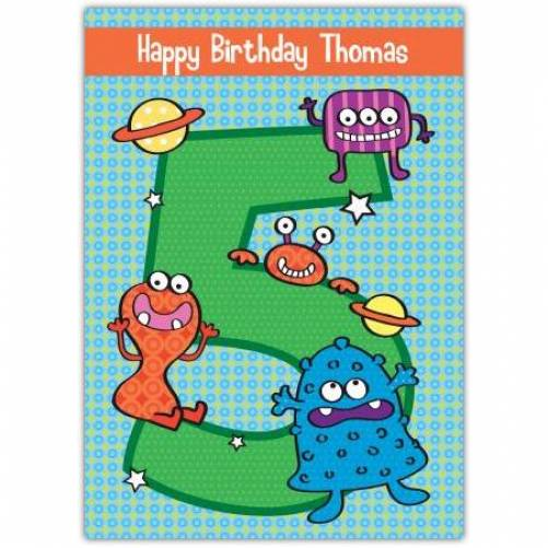 Aliens Happy 5th Birthday Card