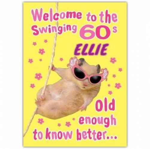 Hamster Swinging 60s Happy 60th Birthday Card