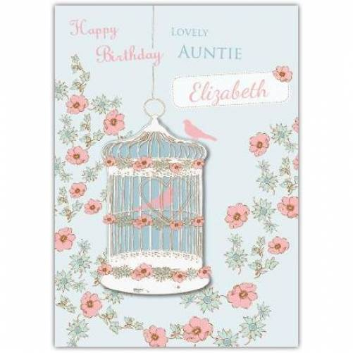 Lovely Auntie Birdcage Birthday Card