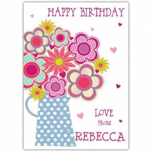 Happy Birthday Jug Of Flowers Birthday Card