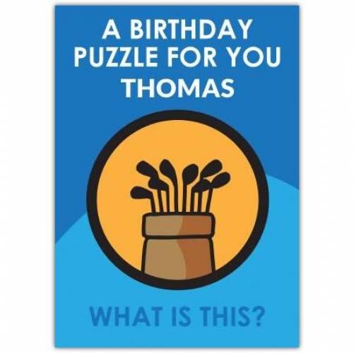 Spider Golf Puzzle Birthday Card