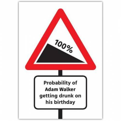 Probability Of Getting Drunk Brithday Card