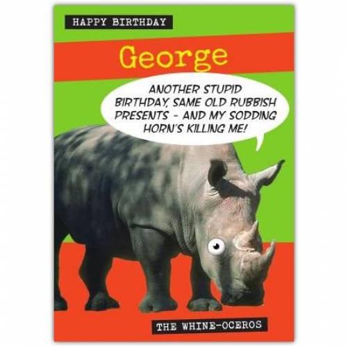 Whine Oceros Stupid Birthday Card