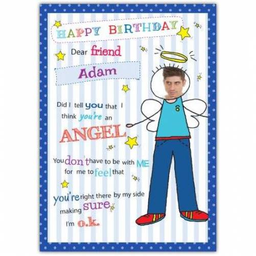 Dear Friend Male Angel Birthday Card