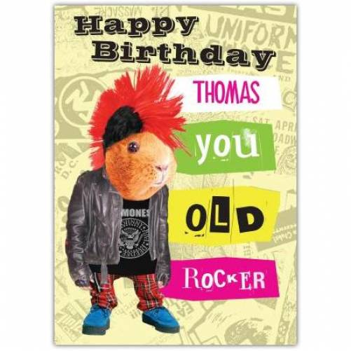 You Old Rocker Guinea Pig Birthday Card