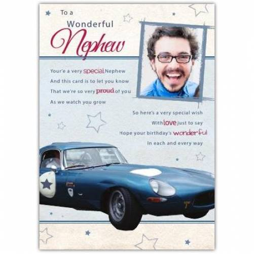 Wonderful Nephew Sports Car Birthday Card