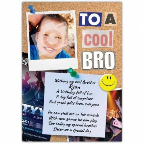 Cool Bro Photo Birthday Card