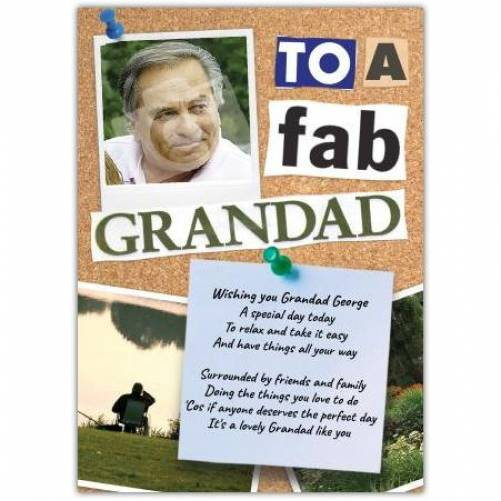 Fab Grandad Photo Birthday Card