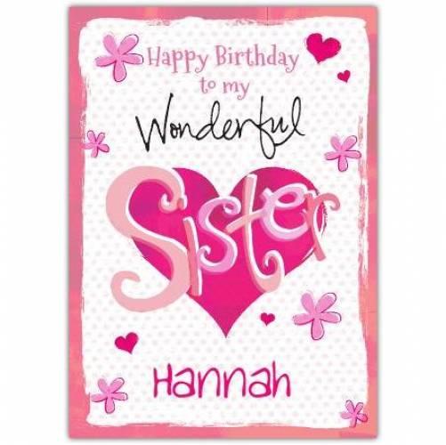Wonder Sister Hearts Birthday Card
