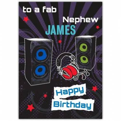 Fab Nephew Music Birthday Card