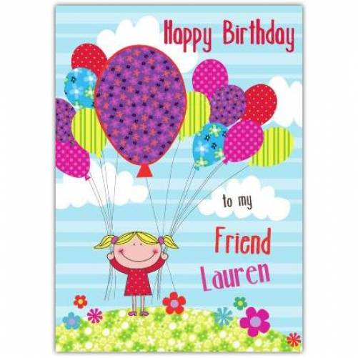 Birthday Girl Balloons Birthday Card