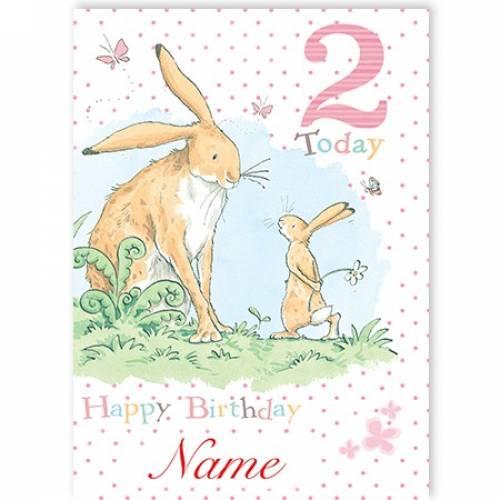 You're 2 Bunny Girl Birthday Card