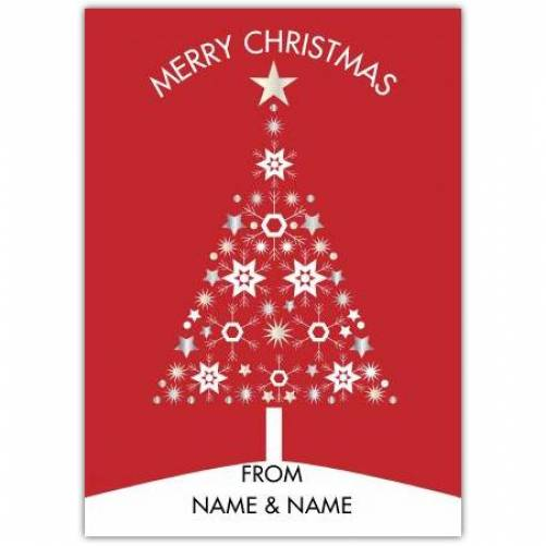 Christmas Red Starry Tree Card