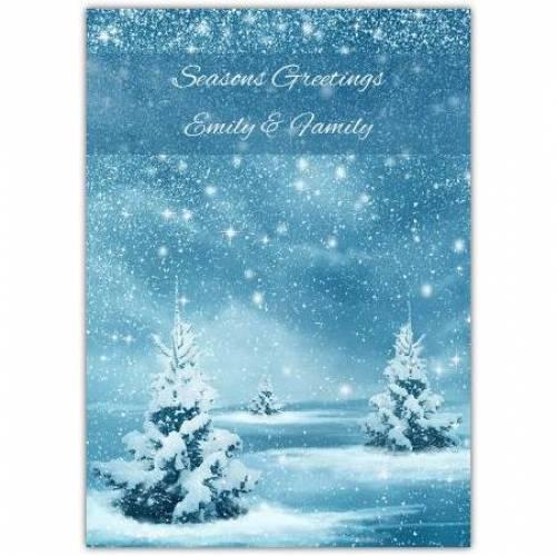 Seasons Greetings Falling Snow On Trees Card