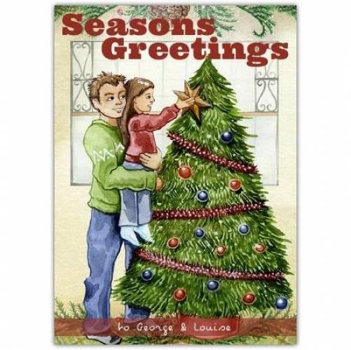 Seasons Greetings Star On The Tree Card