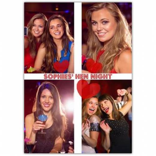 Hen Night Four Photos Card