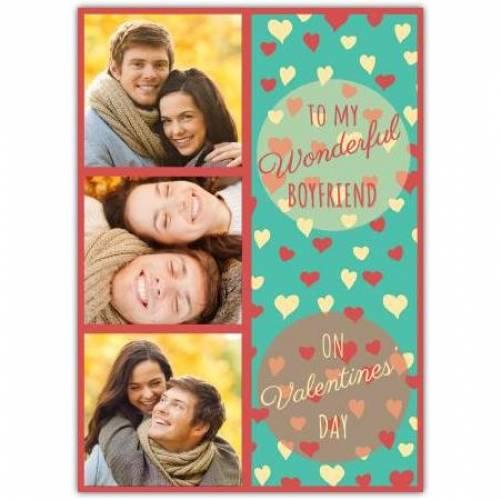 To My Wonderful Boyfriend Valentines Card