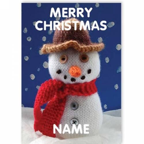 Merry Christmas Woolen Snowman Christmas Card