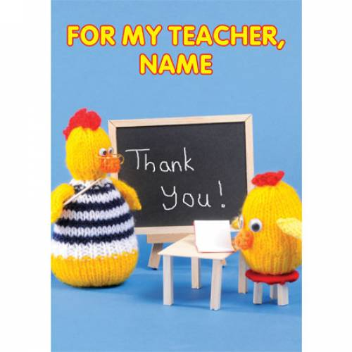 For My Teacher Thank Knitted You Greeting Card