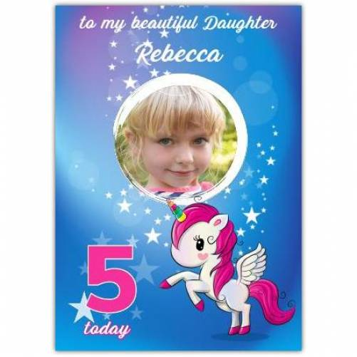 One Photo Unicorn Stars Birthday Greeting Card