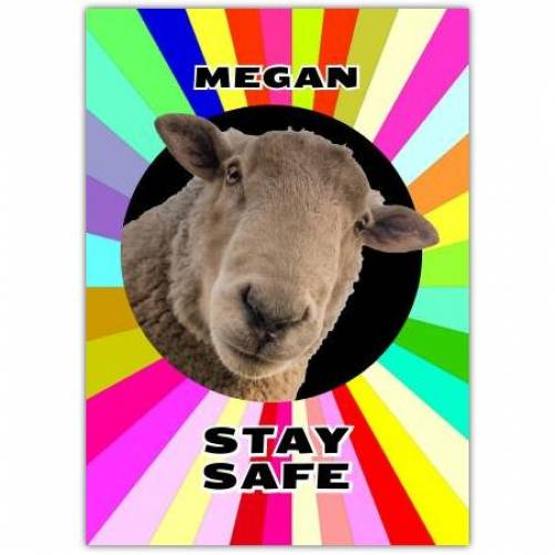 Colourful Sheep Stay Safe Personalised Greeting Card