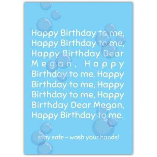 Wash Your Hands Stay Safe Birthday Card