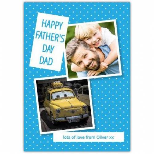 One Photo Blue Polka Dot Father's Day Card