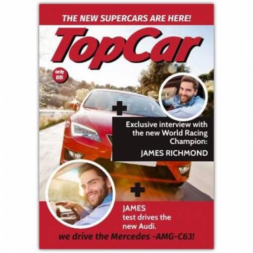 Topcar Two Photo Magazine Greeting Card