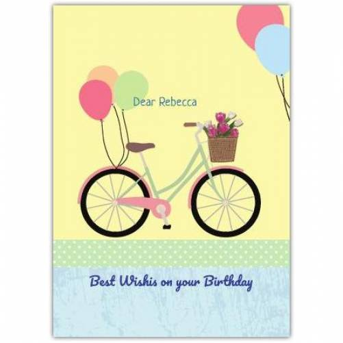 Balloons And Bicycle Birthday Greeting Card