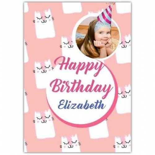 PINK KITTEN HAPPY BIRTHDAY PHOTO Card
