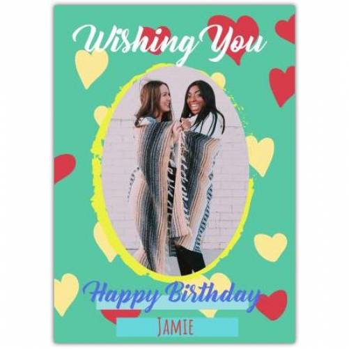 One Large Oval Photo Happy Birthday Card
