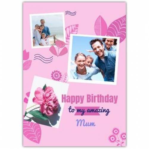 Two Photo Floral Pink Birthday Greeting Card