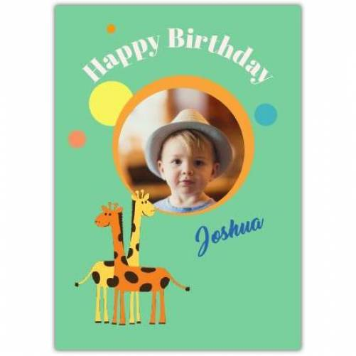 Giraffe One Photo Birthday Greeting Card