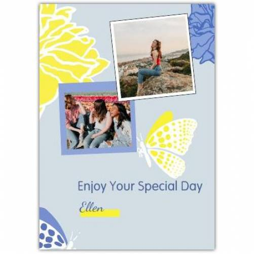 Two Photo Special Day Butterfly Greeting Card