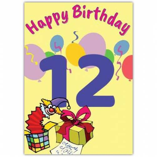 Happy 12th Birthday With Presents  Card