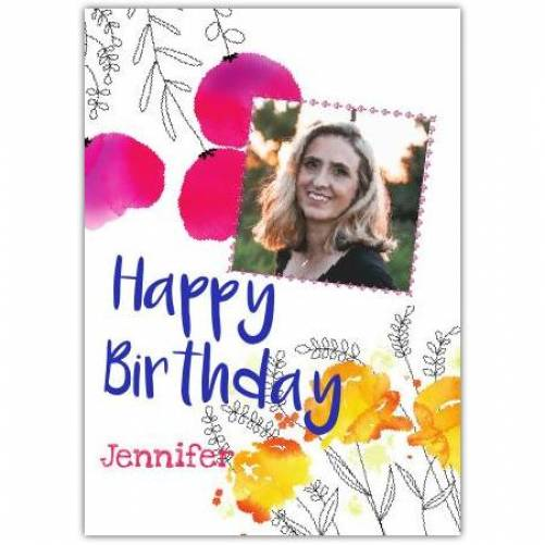 Happy Birthday Pink And Yellow Flowers Card